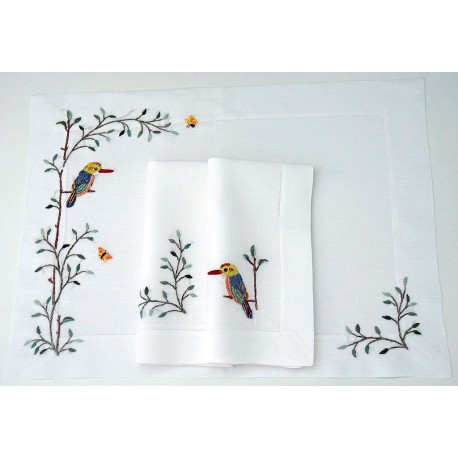 Gefasster Hohlsaum mit Vögel