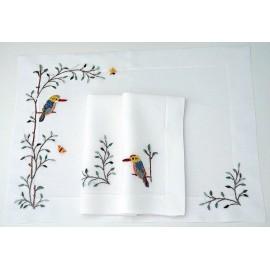 Vögel mit gefassten Hohlsaum